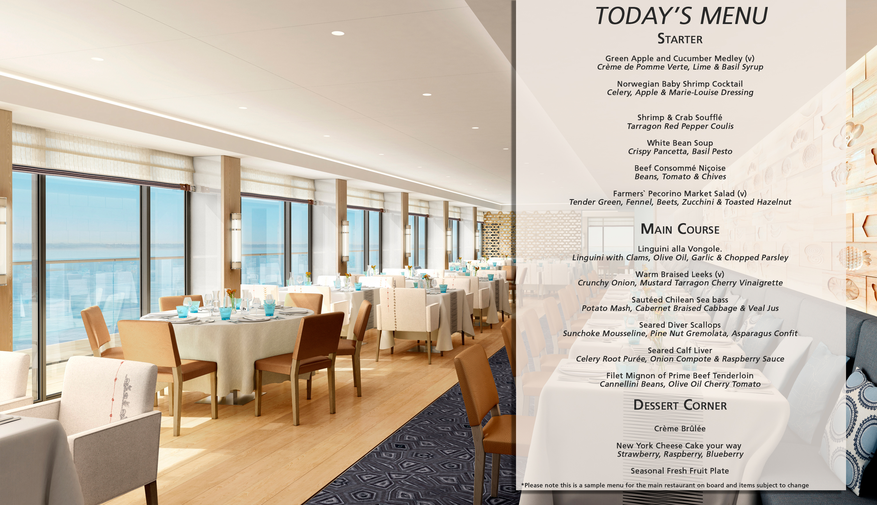 Cuisine and restaurant options viking ocean cruises for Terrace restaurant menu