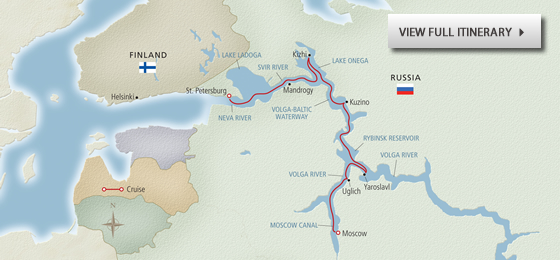 Waterways of the Tsars map - View full itinerary
